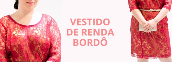 VESTIDO DE RENDA BORDÔ PLUS SIZE!