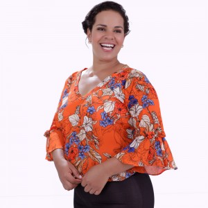 Blusa Antonella Orange Plus Size