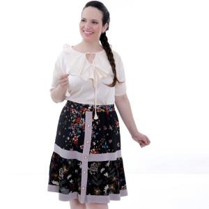 Blusa Básica Jaboô Bege Plus Size