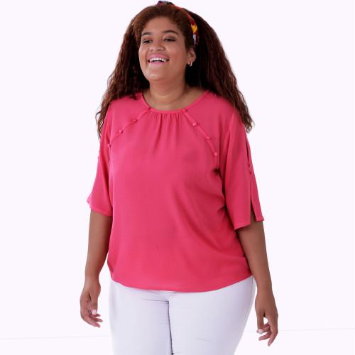 Blusa Botões Pink Plus size