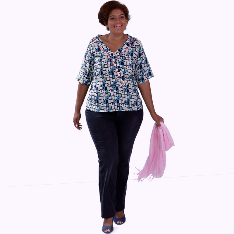 Blusa Divertida Estampada Plus Size