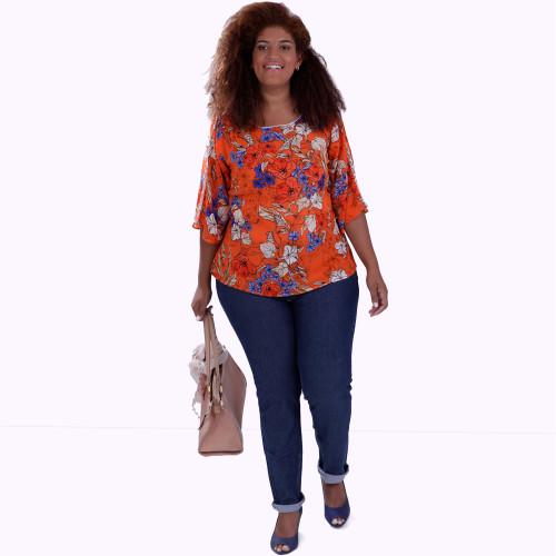 Blusa Lanna  Orange Plus Size