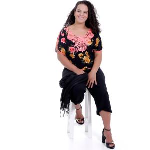 Blusa Preta Fiorella Plus Size
