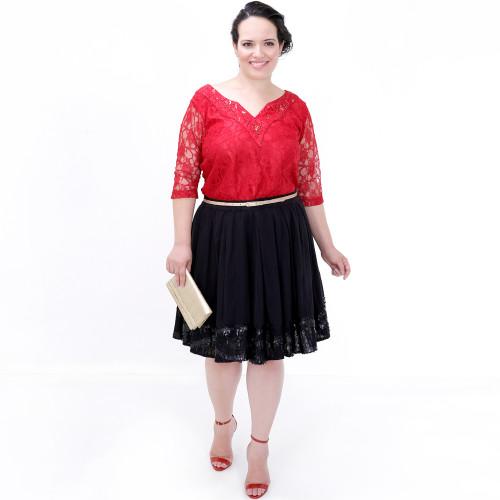 Blusa Red Renda Decote Bordado Plus Size