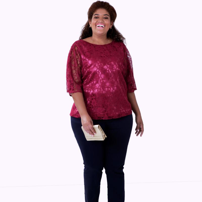 Blusa Renda Vinho Plus Size