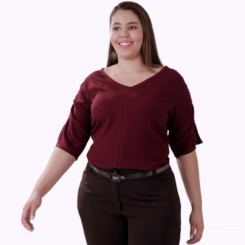 Blusa Vinho Repuxe Upstart Plus Size