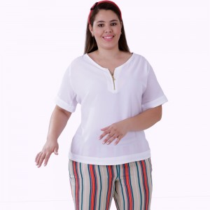 Blusa Vintage Zipper Plus Size