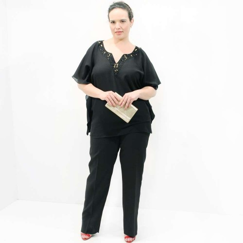 Kaftan Marroquina Bordado Dourado Plus Size