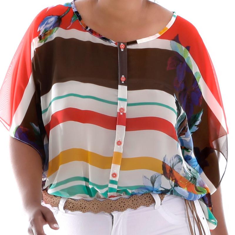 Camisa Alessa Estampa Flores Plus Size