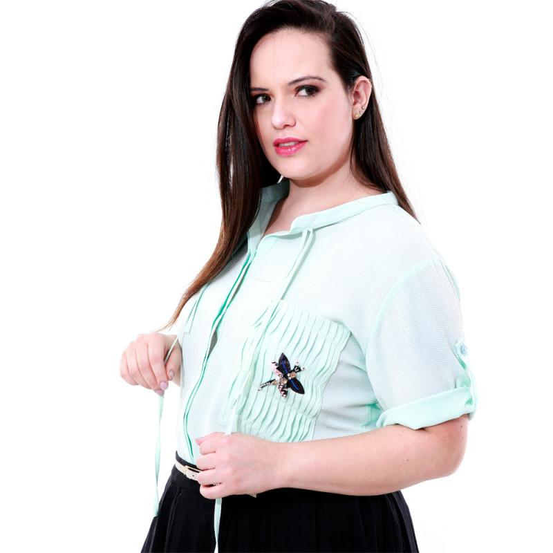 Camisa Bolso Libélula Plus Size