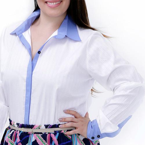 Camisa Branca Duas Cores Plus Size