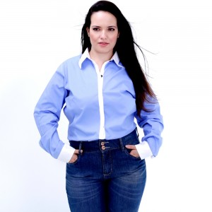Camisa Duas Cores ML Plus Size