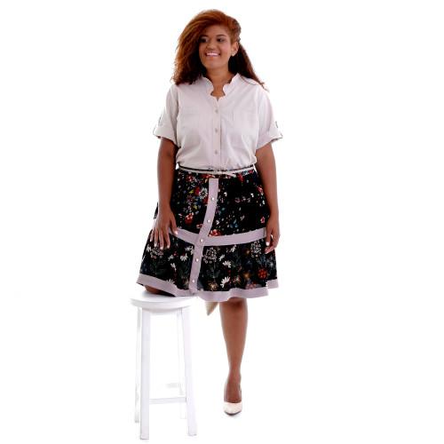 Camisa Eugênia Beige Plus Size
