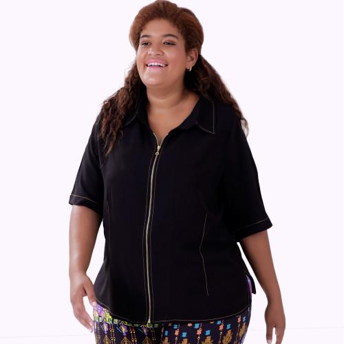 Camisa Zipper Lenda Plus Size
