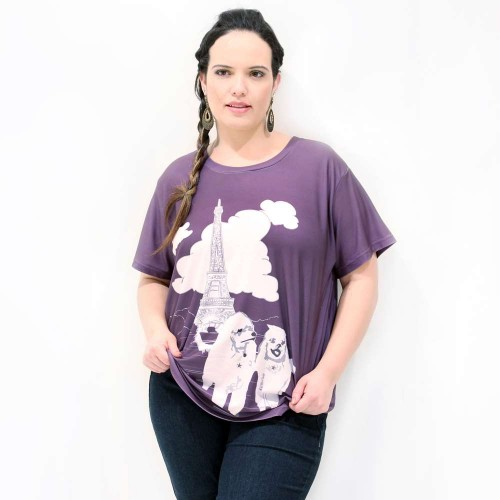 Camiseta Cachorrinhos Paris Plus Size