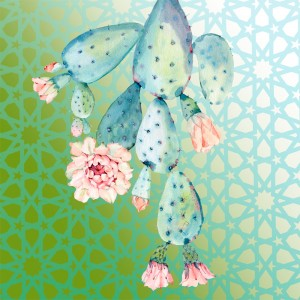 Quadro Decorativo Caktus Azul