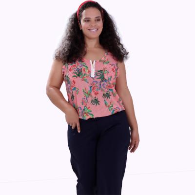 Regata Floral Franciele Zipper Plus Size