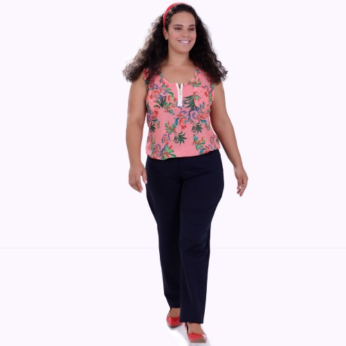 Regata Floral Franciele Zipper Plus Size