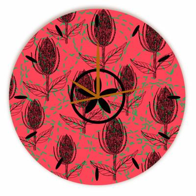 Relógio Flor Algodão Redondo