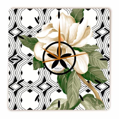 Relógio Gardênia Branco Quadrado