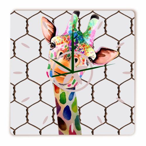 Relógio Girafa Divertida Quadrado