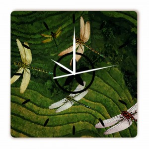 Relógio Vôo Libélulas Quadrado