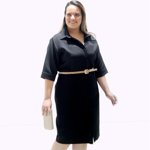 Vestido Chemisier Piquet Preto Plus Size