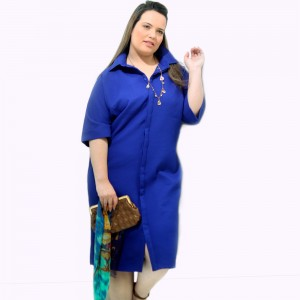 Vestido Chemisier Piquet Royal Plus Size
