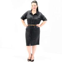 Vestido Chemisier Rústico Com Bordados Plus Size