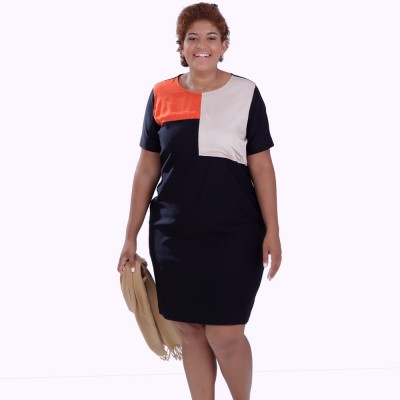 Vestido Color Block Plus Size