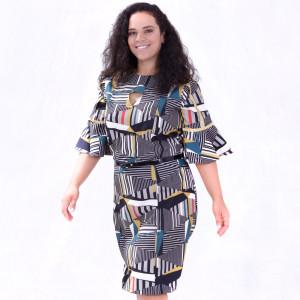 Vestido Geométrico Glória Plus Size